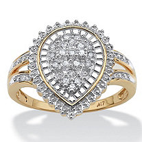 1/10 TCW Round Diamond Pear Shaped Ballerina Setting Ring in 10k Gold