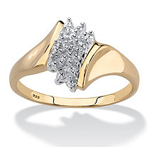Round Pave Diamond Accent 18k Gold over Sterling Silver Cluster Ring