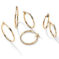"10k Yellow Gold 3-Pairs Hoop Earrings Set 5/8"" to 7/8"" Diameters"