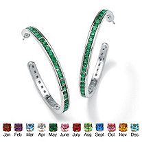 Round Simulated Birthstone Silvertone Channel-Set C-Hoop Earrings