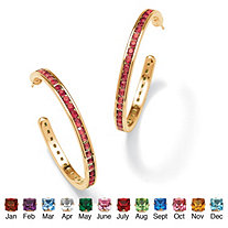 Round Simulated Birthstone 14k Yellow Gold-Plated Channel-Set Hoop Earrings