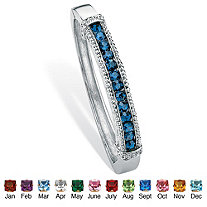 Round Simulated Birthstone Silvertone Channel-Set Bangle Bracelet 8""