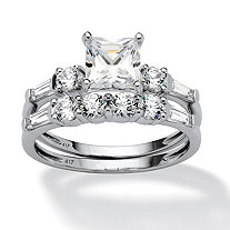 2.52 TCW Princess-Cut Cubic Zirconia 10k White Gold Bridal Engagement Ring Set