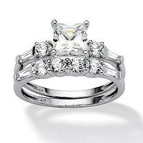 2 Piece 2.52 TCW Princess-Cut Cubic Zirconia Bridal Ring Set in 10k White Gold