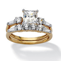 2 Piece 2.52 TCW Princess-Cut Cubic Zirconia Bridal Ring Set in 10k Gold
