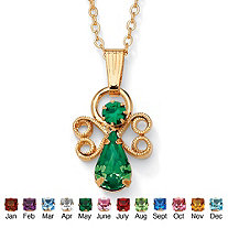 Simulated Birthstone Angel Pendant Necklace in Yellow Gold Tone