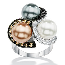Sterling Silver DiamonUltra? Cubic Zirconia and Simulated Pearl Ring - Shop PalmBeach  & Save! :  pearl ring