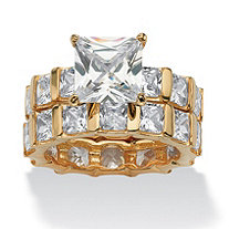12.67 TCW Princess-Cut Cubic Zirconia 18k Yellow Gold over Sterling Silver Eternity Wedding Band Set