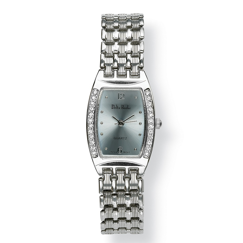 Silvertone Metal Delta Burke Crystal Bezel Watch