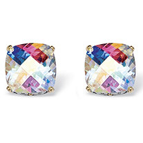 7.60 TCW Cushion-Cut Aurora Borealis Cubic Zirconia Stud Earrings in Silvertone