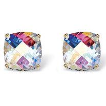 7.60 TCW Cushion-Cut Aurora Borealis Cubic Zirconia Stud Earrings in Silvertone