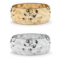 Yellow Gold Tone and Silvertone Wide Hammered-Style Bangle Bracelet 2-Piece Set 9""