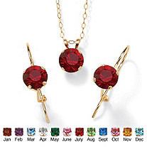 Simulated Birthstone 10k Yellow Gold Cable-Chain Necklace and Earrings Set
