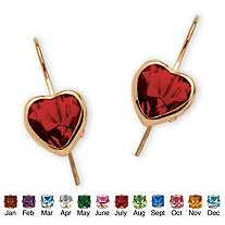 Heart-Shaped Simulated Birthstone 10k Yellow Gold Drop Earrings
