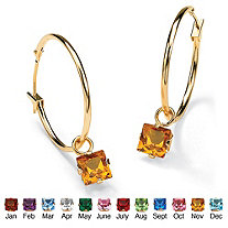 Princess-Cut Simulated Birthstone 10k Yellow Gold Charm Hoop Earrings