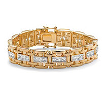 Men's 10.35 TCW Square Cubic Zirconia 14k Gold-Plated Link Bracelet 8 1/4""