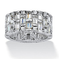 5.12 TCW Round and Baguette Cubic Zirconia Platinum over Sterling Silver Eternity Band