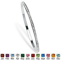Birthstone Silvertone Stackable Eternity Bangle Bracelet