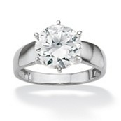 3.50-Carat Round Cubic Zirconia 10k White Gold Solitaire Bridal Engagement Ring