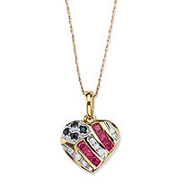 1/5 TCW Round Genuine Sapphire and Lab-Created Ruby 10k Yellow Gold Patriotic Pendant and Chain 18""
