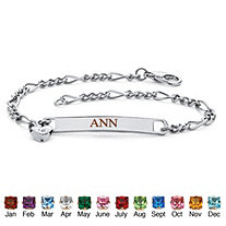 Simulated Birthstone Personalized I.D. Heart Charm Bracelet in Silvertone