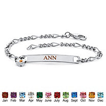 Simulated Birthstone Personalized I.D. Heart Charm Name Bracelet in Silvertone 7 1/4""