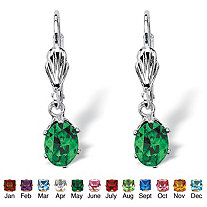Oval-Cut Simulated Birthstone Silvertone Drop Earrings