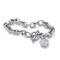 Diamond Accented Heart Charm Bracelet in Platinum over Sterling Silver 7 1/4""