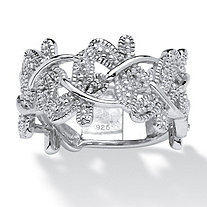Diamond Accented Butterfly Ring in Platinum over Sterling Silver