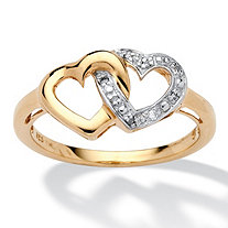 Diamond Accent 18k Gold over Sterling Silver Interlocking Heart Ring