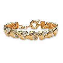 .19 TCW Round Diamond 14k Yellow Gold-Plated Wave-Link Bracelet 7 1/2""