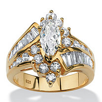 3.20 TCW Marquise-Cut and Baguette-Cut Cubic Zirconia 18k Yellow Gold over Sterling Silver Ring