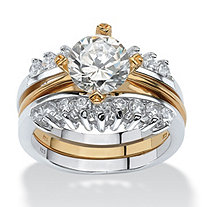 2.86 TCW 2 Piece Round Cubic Zirconia Bridal Ring in Two-Tone Sterling Silver With Golden Accents