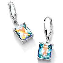 7.60 TCW Emerald-Cut Aurora Borealis Cubic Zirconia Sterling Silver Drop Earrings