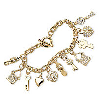 Round Crystal 14k Yellow Gold-Plated Shoe, Purse, Heart Lock and Key Charm Bracelet 7 1/2""