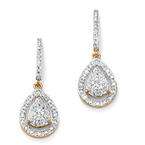 1/8 TCW Round Diamond 18k Yellow Gold over Sterling Silver Pear-Shaped Drop Earrings