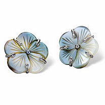Flower-Shaped Freshwater Black Mother-of-Pearl Button Silvertone Earrings