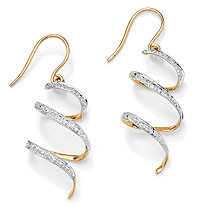 "Diamond Accent 10k Yellow Gold 1"" Ribbon Drop Earrings"
