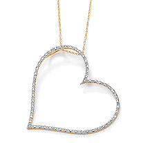 Diamond Accent 10k Yellow Gold Heart Pendant and Rope Chain 18""
