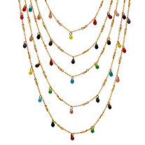 Multi-Color Beaded Waterfall Necklace in Yellow Gold Tone