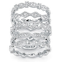 5 Piece 1.55 TCW Round Cubic Zirconia Stack Eternity Bands Set in Silvertone