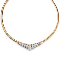 1/10 TCW Round Diamond 18k Gold over Sterling Silver Chevron Necklace 20""
