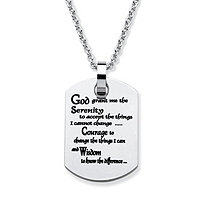 "Stainless Steel Enamel-Finish ""Serenity Prayer"" Dog-Tag Pendant and Chain 18"""