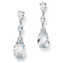 34.70 TCW Pear-Cut Cubic Zirconia Sterling Silver Drop Earrings