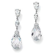 34.70 TCW Pear-Cut Cubic Zirconia Sterling Silver Drop Earrings