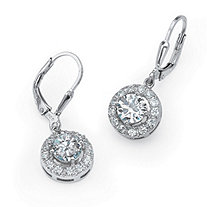 2.35 TCW Round Cubic Zirconia Sterling Silver Drop Earrings