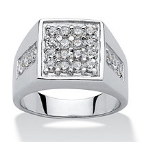 Men's 1.32 TCW Round Cubic Zirconia Platinum over Sterling Silver Cluster Ring