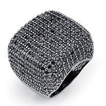 6.76 TCW Round Black Cubic Zirconia Pave Black Ruthenium Over Sterling Silver Dome Ring