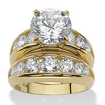 2 Piece 6.09 TCW Round Cubic Zirconia Bridal Ring Set in 18k Gold over Sterling Silver