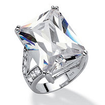27.10 TCW Emerald-Cut Cubic Zirconia Platinum over Sterling Silver Engagement/Anniversary Ring